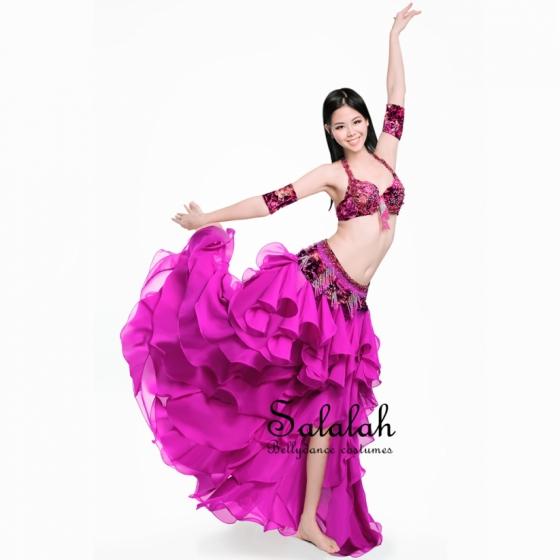 格安オリエンタル衣装 フリルローズピンク ベリーダンス コスチューム