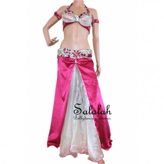 即納品 ベリーダンス衣装 サテンローズピンク セット衣装 ブラ スカート(ベルト一体型) アーム サテン、オーガンジー 発表会 ステージ衣装 ベリーダンス