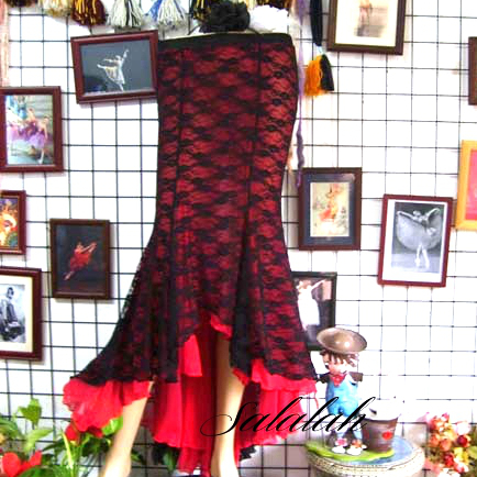 マーメイドスカート2重レース素材 ブラック&レッド 【色、サイズ指定可能オーダー製作】 ストレッチ 高級感 上質なレース素材 ウェストはゴム 2枚重ね仕様、透け感が気になりません ベリーダンス衣装 コスチューム レッスン 発表会 ステージ ドレス