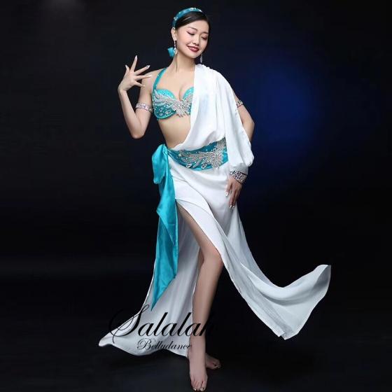 ドレス、ブラ、ヘッドスカーフ、ヒップスカーフ、ショートパンツ5点セット【全3色】 sd_1153 ベリーダンス衣装 コスチューム レッスンウェア レッスン着 ドレス ステージ衣装 発表会 格安
