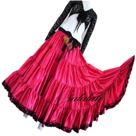 25ヤードジプシースカートサテン&レース ローズピンク gs004 ベリーダンス衣装 コスチューム ステージ衣装 レッスンウェア レッスンウエア レッスン着 ワンピース ドレス