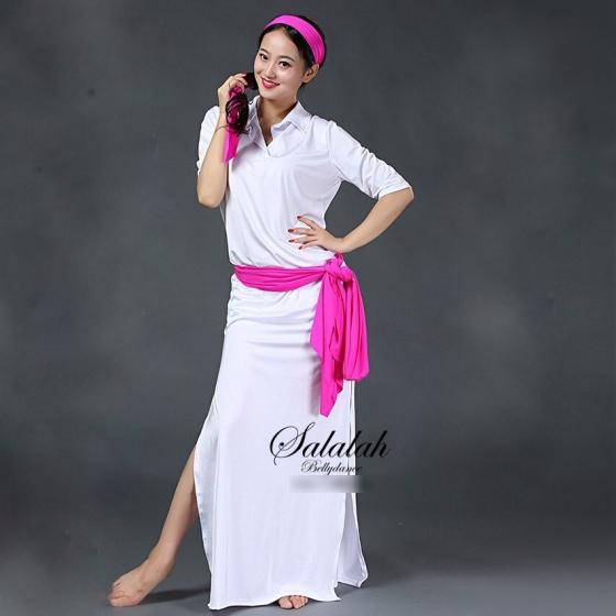 サイーディドレス ホワイト3点セット ベリーダンス 衣装 レッスンウェア レッスンウエア コスチューム ワンピース