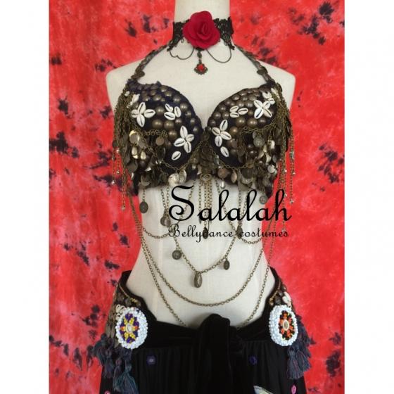 トライバルアンティーク風コインブラ シェルフラワー 高品質 tb016 トライバル衣装 ブラトップ ベリーダンス衣装 コスチューム レッスンウェア レッスンウエア レッスン着 ダンス ドレス ステージ衣装 発表会 トップス