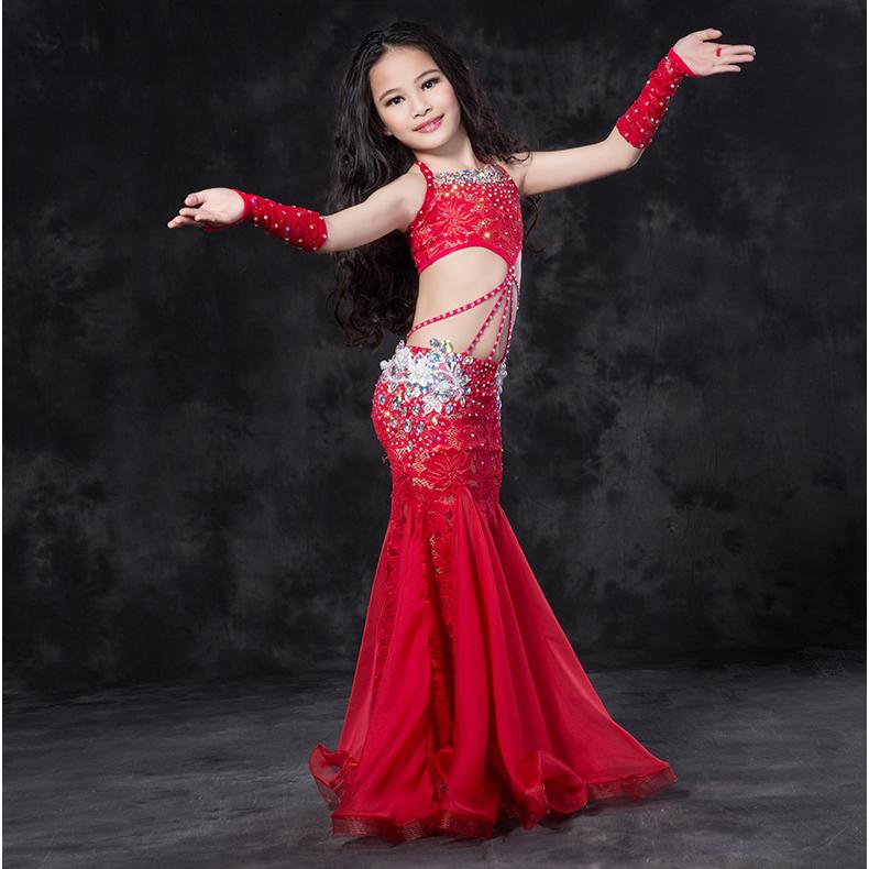 キッズベリーダンス衣装 全4色 コスチューム ドレス サーモンピンク レッド ブラック ライトグリーン