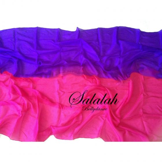シルク100%2色グラデーションベール Pink&Purple ピンク/パープル 高級シルク素材 ベリーダンス衣装 コスチューム ドレス レッスンウェア レッスンウエア レッスン着 ステージ 発表会