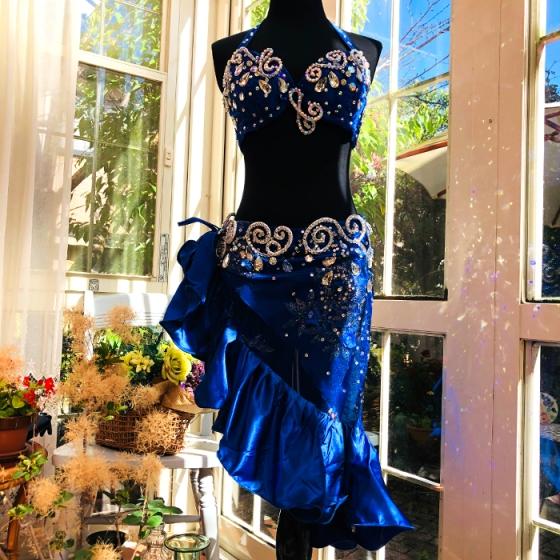 フリルミニスカートタイプ サファイアブルー ベリーダンス 発表会 結婚式 披露宴 パーティー トライバルスタイル アンティークデザイン ベリーダンス ドレス