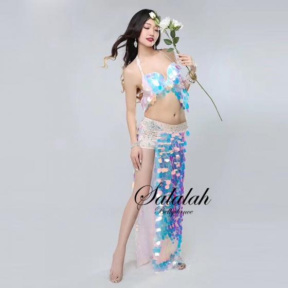オリエンタル衣装 キラキラマーメイドピンク OC1147 ブラ スカート(ショートパンツ一体型)ベリーダンス衣装 コスチューム レッスンウェア レッスン着 ステージ衣装 発表会 ドレス