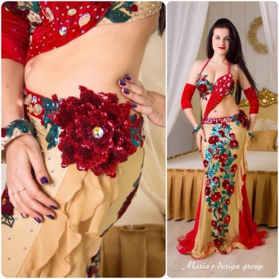 Maria's Design ベリーダンス衣装 Red&camel 受注製作 送料無料 ブラ スカート アームバンド2点 バングル2個(ラインストーン&スパンコール装飾) ライクラ シフォン