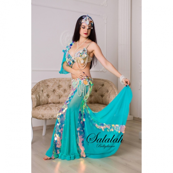 Maria's Design ベリーダンス衣装 Star mameid 受注製作 送料無料 ブラ スカート パールネックレス パールブレスレット ライクラ シフォン シースルー