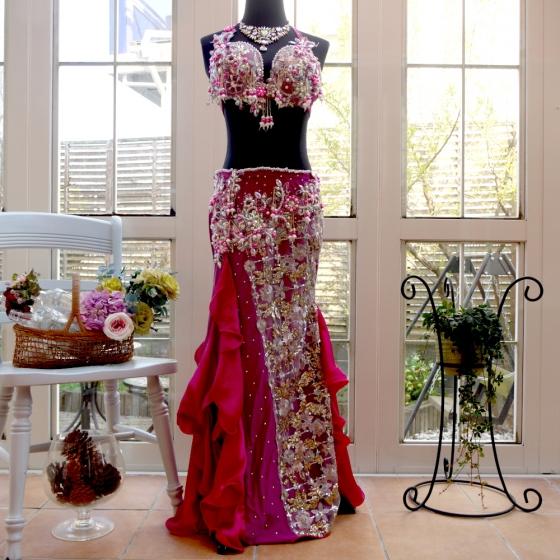 エジプト製 Amr デザイン Winered&rosepink マーメイドフリル ベリーダンス 衣装 コスチューム 発表会 ステージ レッスン ブラ スカート