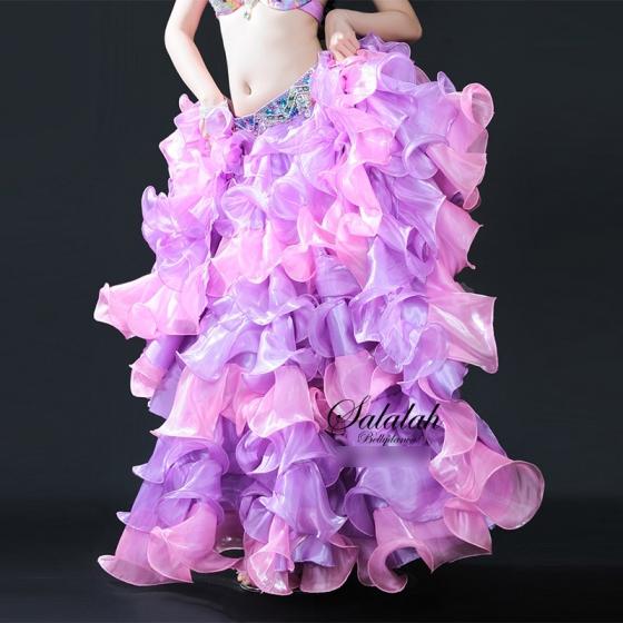 2色組み合わせフリルスカート 【全3色】 ピンク&パープル ホワイト&グリーン オレンジ&イエロー