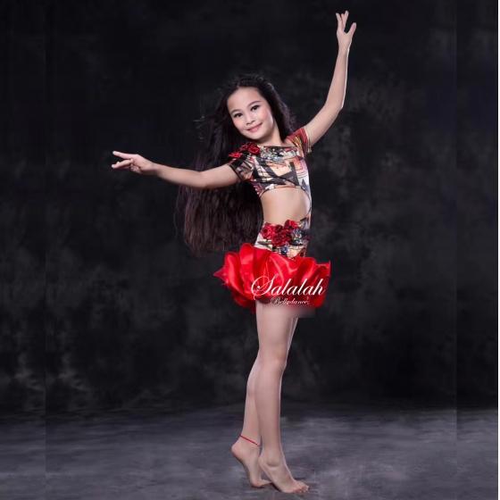 キッズベリーダンス衣装 ミニーフリルワンピース 全2色 ワンピース ショートパンツ ベロア サテン レッド パープル