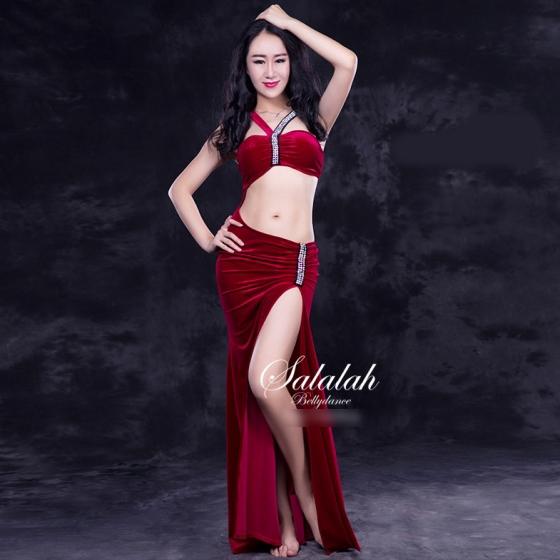 レッスンウエア ベロア繋ぎドレスショートパンツ付き 全4色 レッド ピンク グリーン ブラック ベリーダンス