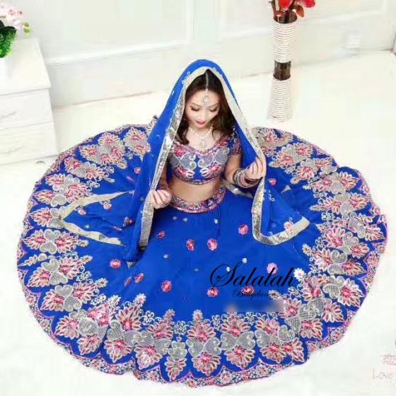 ボリウッドダンス衣装 インド製 コスチューム ローヤルブルー&ピンク ベリーダンス