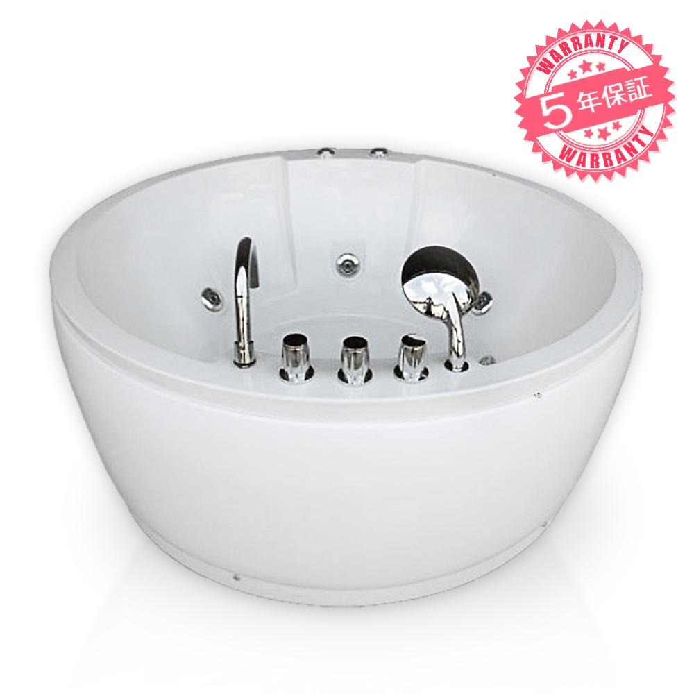 激安!ジャグジーW140xD140xH64・(140-S)◆5年保証◆家庭用ジェットバス、ジャグジー浴槽・ホテルやログハウスなどで設置可能なバスタブ・お風呂・浴槽・円形タイプ、屋外用・蛇口・ハンドシャワーあり、置き型バスタブ・組アクアジェットバスタブ