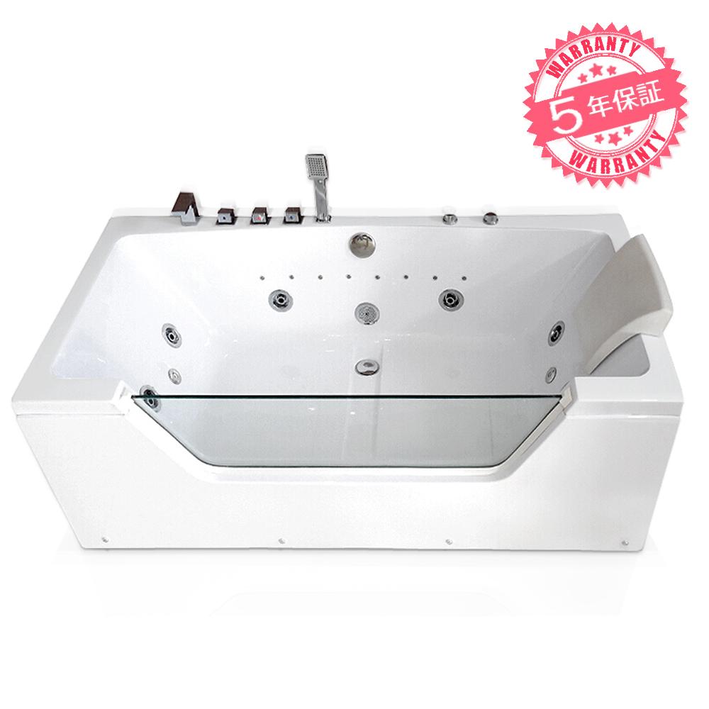 激安!ジャグジーW150xD85xH65・(2815-CP)◆5年保証◆家庭用ジェットバス、ジャグジー浴槽・ホテルやログハウスなどで設置可能なバスタブ・お風呂・浴槽・四角いタイプ・蛇口・ハンドシャワーあり、置き型バスタブ・組立簡単なアクアジェットバスタブ