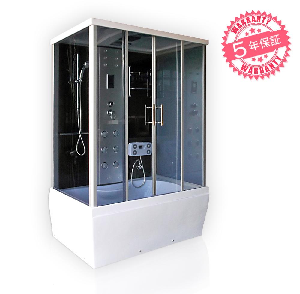激安!ジャグジー付きシャワーユニットW140xD85xH220・(4085-F)◆5年保証◆家庭用シャワーブース、シャワールーム・ホテルやログハウスなどで設置可能なバスタブ・お風呂・ジェット浴槽・四角いタイプ、置き型・組立簡単・換気扇、天井・サイドシャワー付き