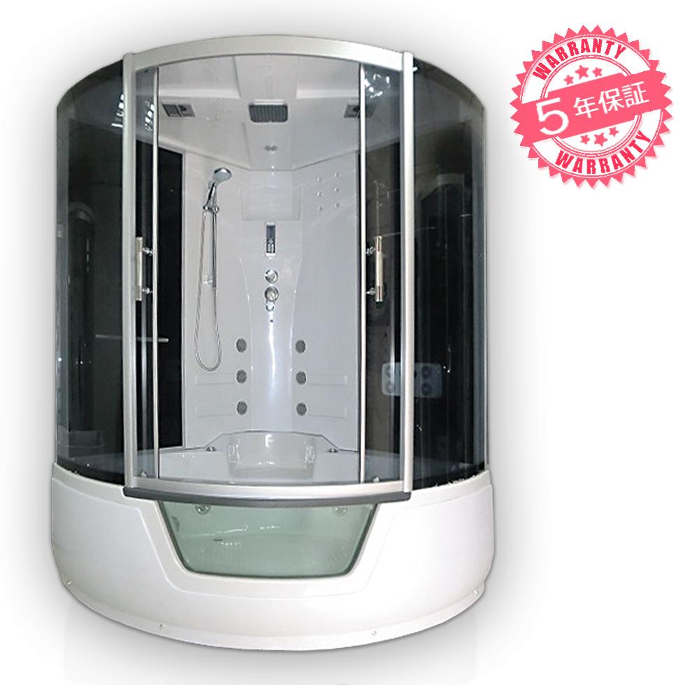 シャワーキャビン・サイズ:150x150x220h★保証5年★ジャグジー付きシャワーブース、シャワーユニット、シャワールーム【1501-F】ジェットバス・お風呂・浴槽・ユニットバス・置き型シャワー・LEDライト、ラジオ・換気扇・背中シャワー・天井シャワー付き・足裏マッサージ器