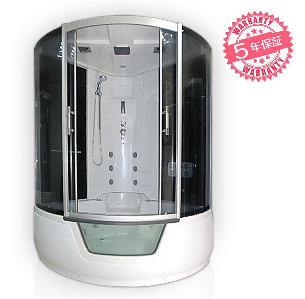 シャワーキャビン・サイズ:130x130x220h★保証5年★ジャグジー付きシャワーブース、シャワーユニット、シャワールーム【1301-F】ジェットバス・お風呂・浴槽・ユニットバス・置き型シャワー・LEDライト、ラジオ・換気扇・背中シャワー・天井シャワー付き・足裏マッサージ器