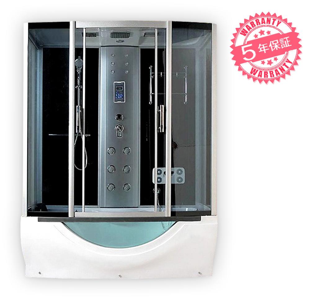 激安!ジャグジー付きシャワーユニットW170xD90xH220・(7090-F)◆5年保証◆家庭用シャワーブース、シャワールーム・ホテルやログハウスなどで設置可能なバスタブ・お風呂・ジェット浴槽・四角いタイプ、置き型・組立簡単・換気扇、天井・サイドシャワー付き