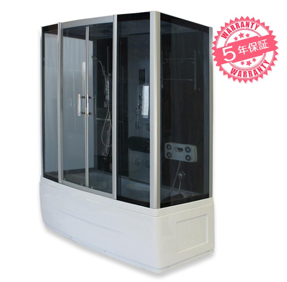 シャワーキャビン・サイズ:150x80x220h★保証5年★スチームサウナ・シャワーブース、シャワーユニット、シャワールーム【8034-FST】ジェットバス・お風呂・浴槽・ユニットバス・置き型シャワー・LEDライト、ラジオ・換気扇・天井シャワー付き・足裏マッサージ器