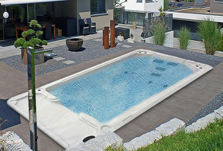 2年保証のスイミングプール・激安水泳プール◆W570xD225xH152◆埋め込み式/置き型の水流プール(SP560)水流アクア・ジャグジープール、ヒーター・オゾン洗浄・マッサージ、アクアジェット、ログハウス・ホテル・スパ・エステ店/エステサロンに最適・家庭用プール