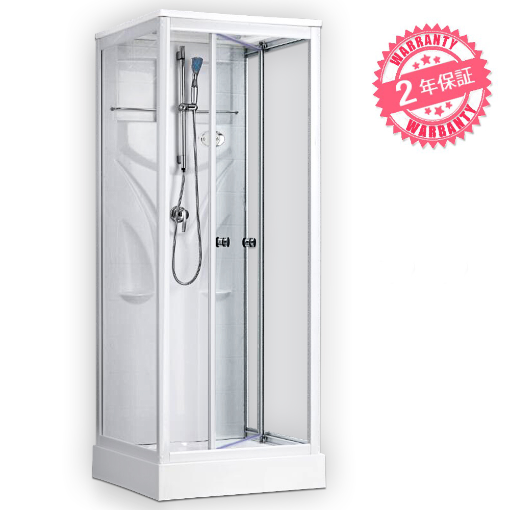 LU8282-CP・透明ガラス◆82x82x219h◆在庫あり◆2年保証◆無料電話サポート!ショールーム有!ホテル/別荘/ログハウス/家庭用浴槽・お風呂、電気付きシャワーブース、LEDライトありシャワールーム、換気扇付きシャワーユニット・浴室設備