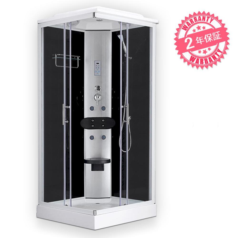 激安!LEDライト・換気扇付きシャワーユニットW90xD90xH215(LU1209-CP・BLACK・透明ガラス)◆2年保証◆家庭用シャワーブース、シャワールーム・ホテルやログハウスなどで設置可能なバスタブ・お風呂・浴槽・四角いタイプ、置き型・組立簡単 天井・サイドシャワー付き
