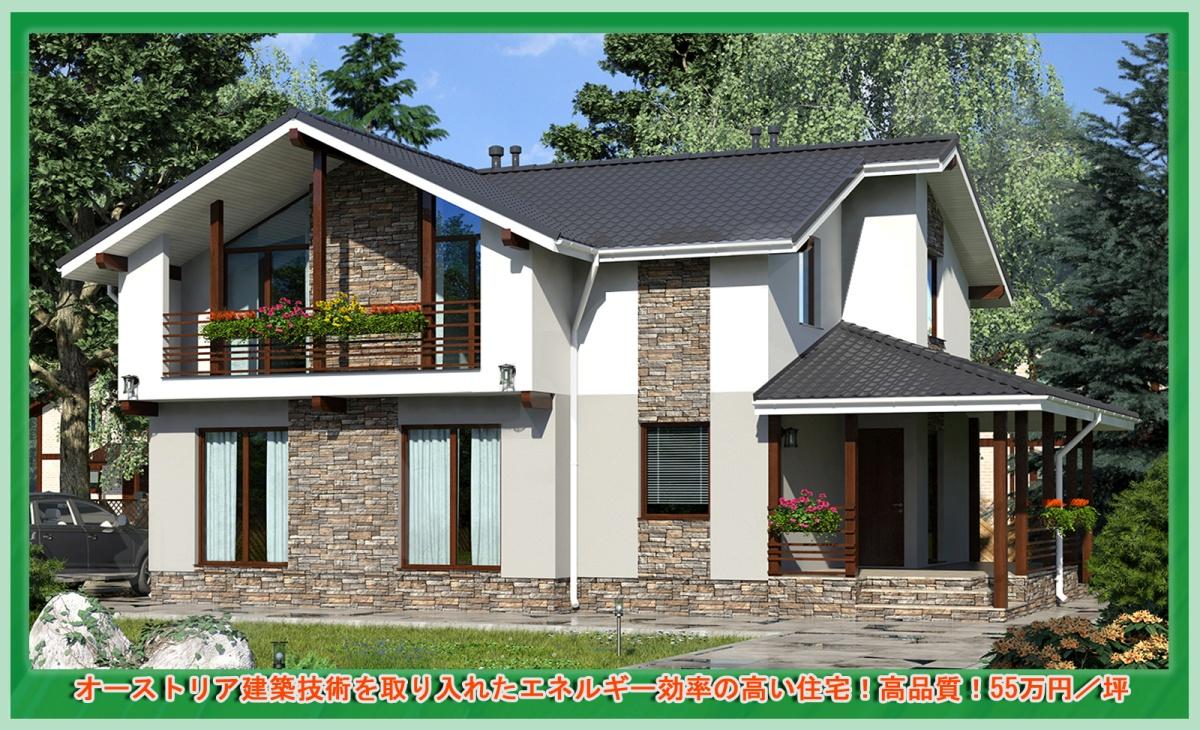オーストリア建築技術を取り入れたエネルギー効率の高い住宅!高品質!55万円/坪 注文住宅・お取り寄せ【KAR-03-49,82坪】