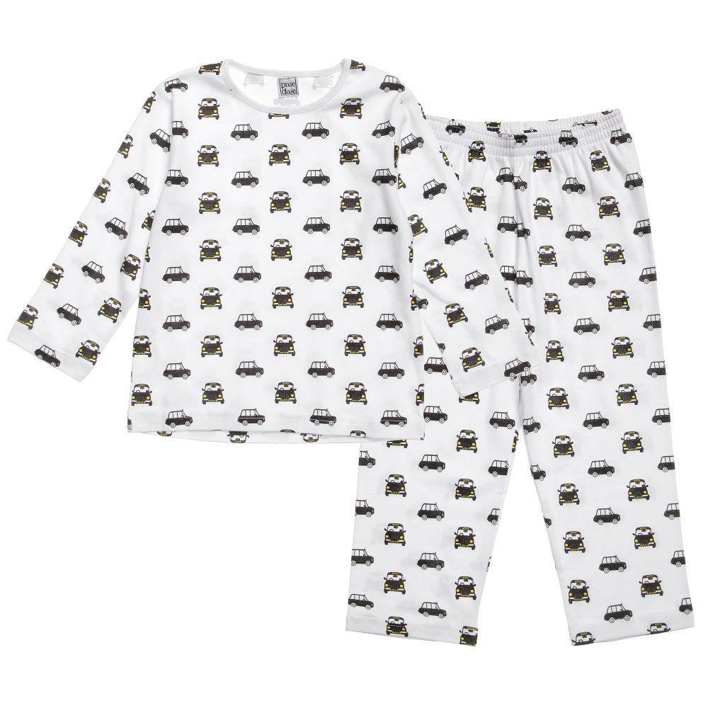 pixie dixieロンドンタクシー柄丸首パジャマ(海外子供服ブランド、ナイトウエア、pureコットン、オーガニックコットン、1才、2才、3才、4才、ユニセックス、男の子、女の子、かわいい、オシャレ、ロンドン発)