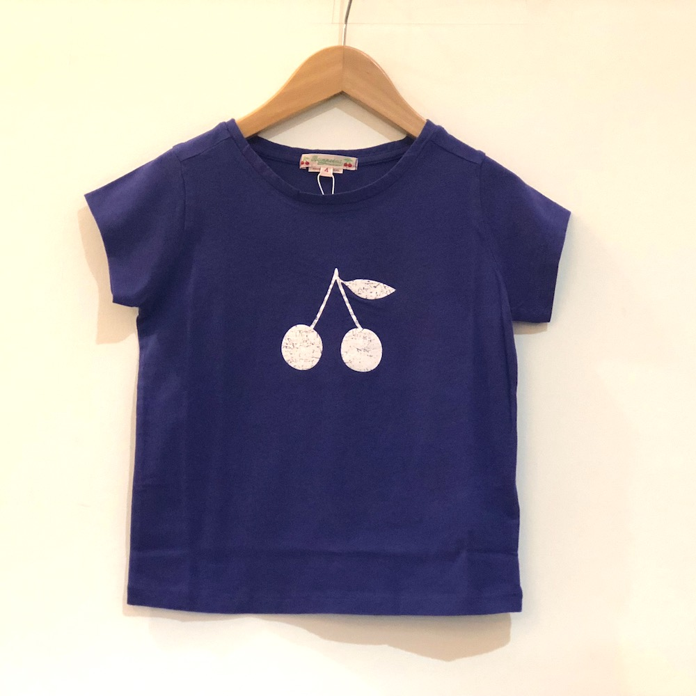 bonpoint ボンポワン Tシャツ 女の子 コットン素材 チェリー柄 ブルー 青