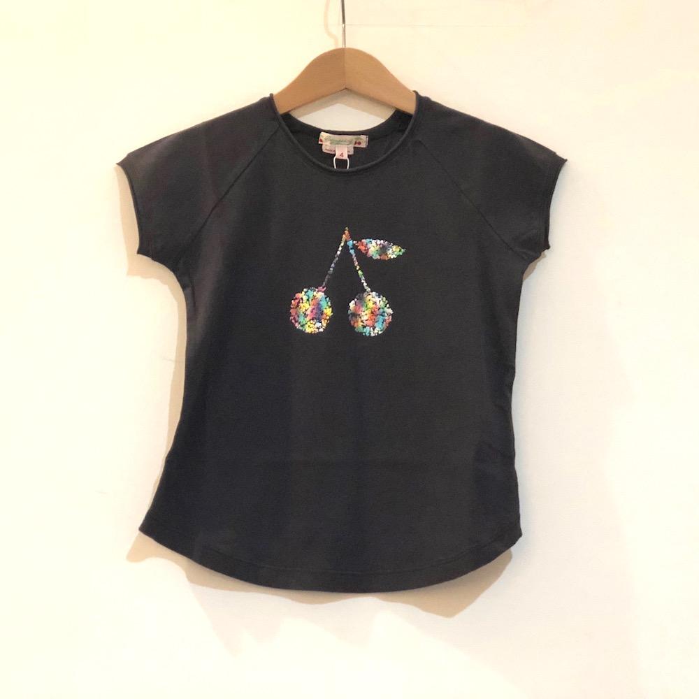 bonpoint ボンポワン Tシャツ 女の子 コットン素材 チェリー柄 ブラック キラキラ