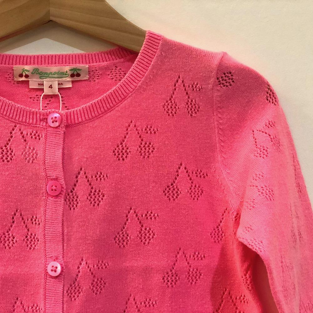 bonpoint ボンポワン 透かし編み コットンカーディガン 女の子 コットン素材 チェリー柄 ピンク