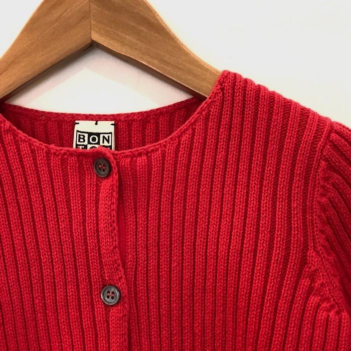 ボントン bonton カーディガン 男の子 女の子 コットン素材 羽織物 リブカーディガン ピンク