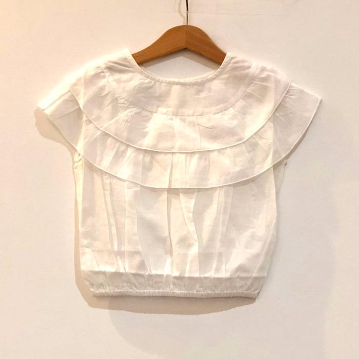 18SS ボントン bonton ホワイトフリルブラウス 女の子 薄手 涼しい 綿 キッズサイズ 4A 6A 8A