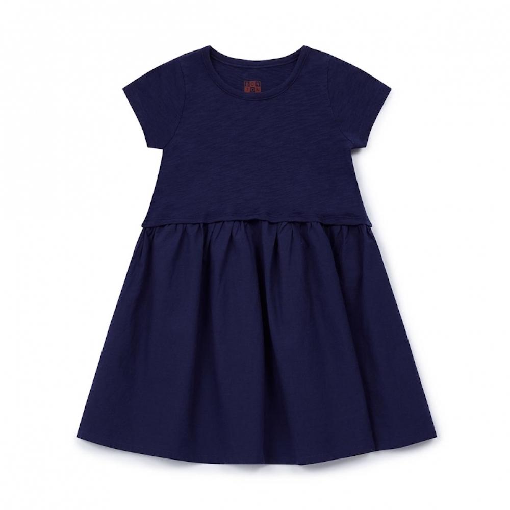 ボントン bonton ワンピース ドレス シンプルドレス 女の子 コットン素材 オレンジ ネイビー