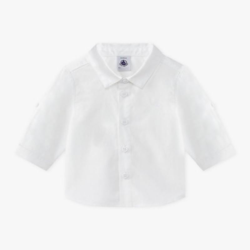 プチバトー baby 白シャツ オックスフォードシャツ 男の子 出産お祝い ギフト 出産 定番シャツ 定番