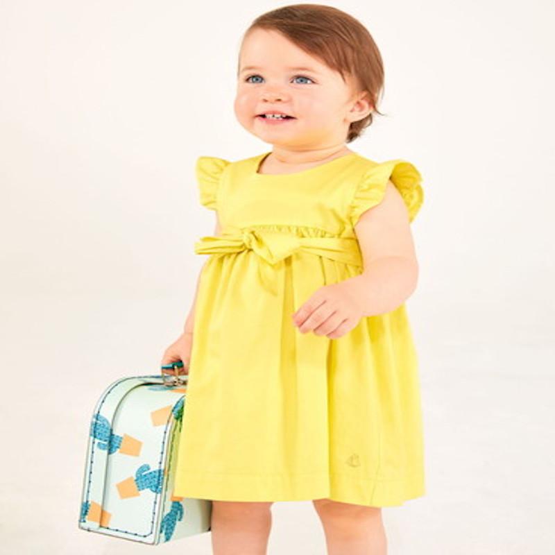 SALE プチバトー ベビーサイズ ワンピース プチバトーワンピース プチバトー出産祝い 女の子 12M 18M 24M イエローワンピース 黄色 レモン サテンワンピース 出産ギフト ラッピング対応出産ギフト