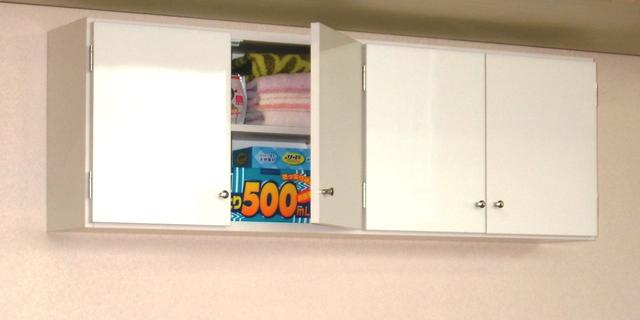 【完成品】鏡面扉 吊り戸棚幅120奥行S(22cm)タイプ洗面所収納 トイレ収納