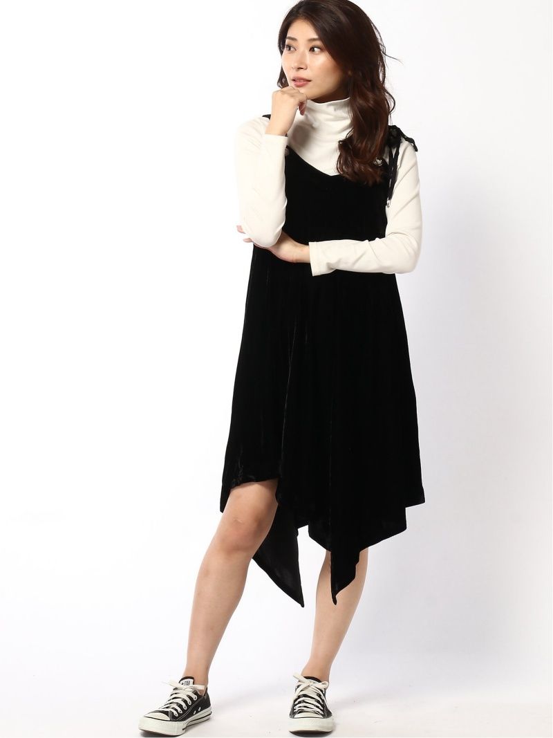 [Rakuten Fashion]VELOR STRAP DRESS Samantha Vega サマンサ ベガ ワンピース キャミワンピース ブラック ピンク オレンジ【送料無料】