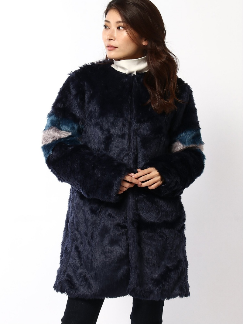 [Rakuten Fashion]ファージャケット Samantha Vega サマンサ ベガ コート/ジャケット コート/ジャケットその他 ネイビー ピンク【送料無料】