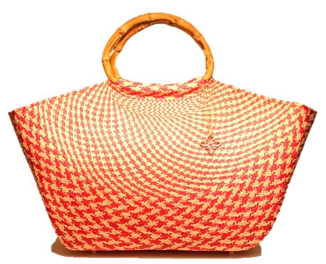 ハンドメイドのかごバッグ 高級天然素材・ブリヤシ繊維製のストローバッグ パボレアル チェック(ピンクベージュ) とにかく軽い!