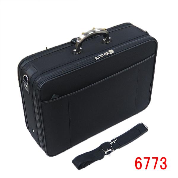ラフェール [オプス] ソフト・アタッシュケース [アルミ持ち手] 6773 黒 ブラック 営業 通勤 紳士 メンズ 鍵付き ファスナーロック Wルーム 2室構造