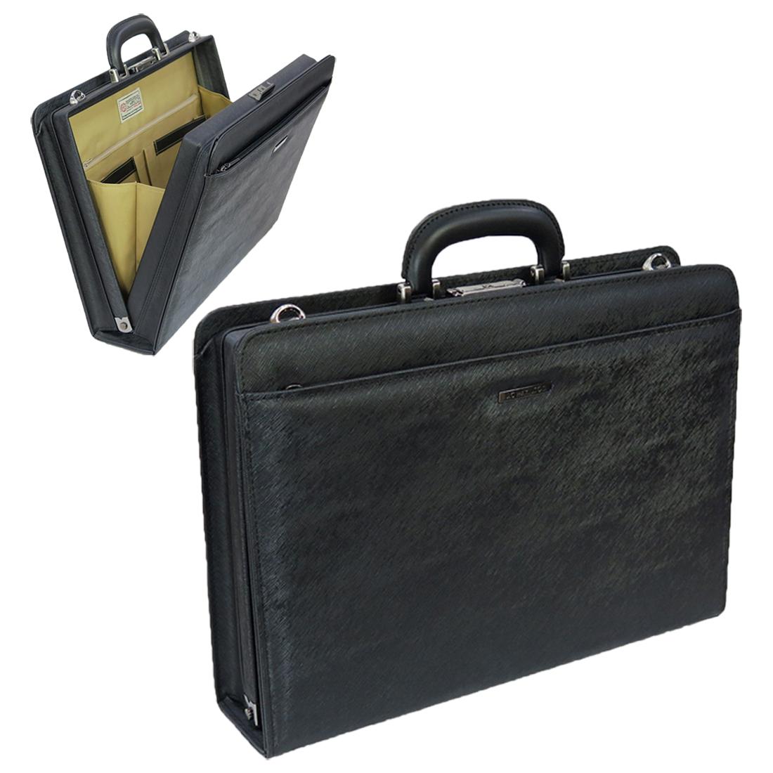 J.C HAMILTON(ハミルトン)ダレス型ビジネスバッグ 22325 口枠型 キーロック付 ブリーフ 通勤 書類入れ 日本製 メンズバッグ ブラック