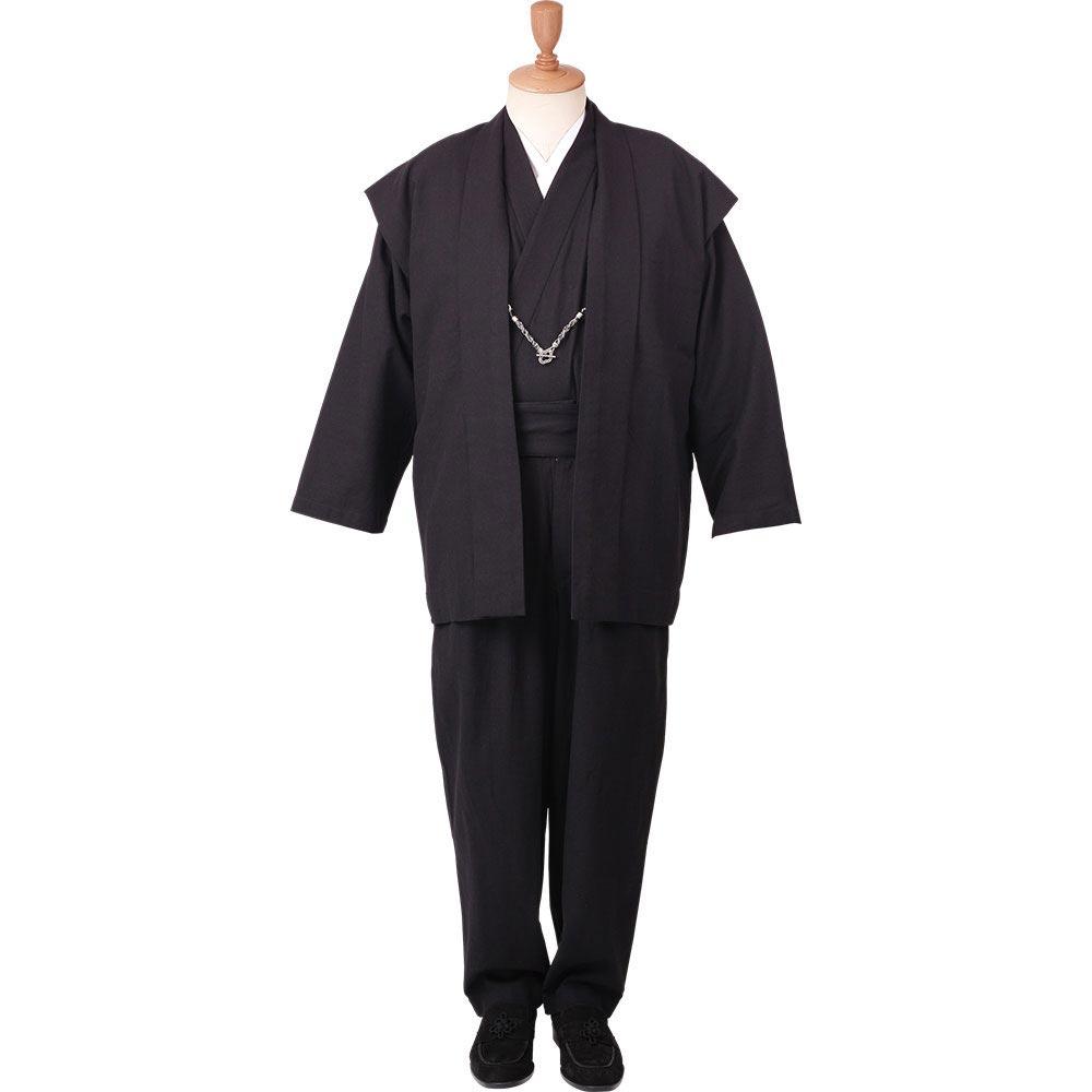 和装アンサンブル/着物スーツ 綿の門 武玄01 黒(ストレート) 羽織紐04(M-LL)/男性 紳士 メンズ