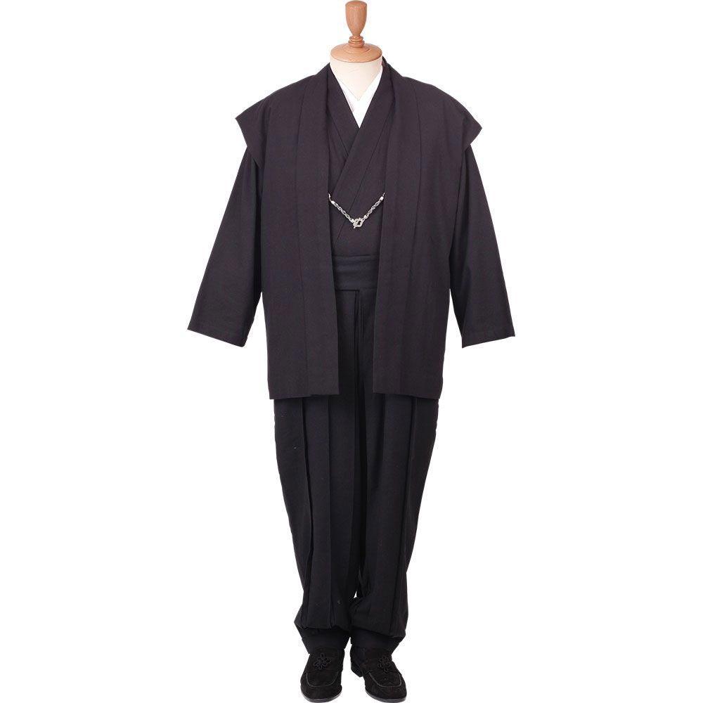 和装アンサンブル/着物スーツ 綿の門 武玄02 黒(プリーツ) 羽織紐04(M-LL)/男性 紳士 メンズ