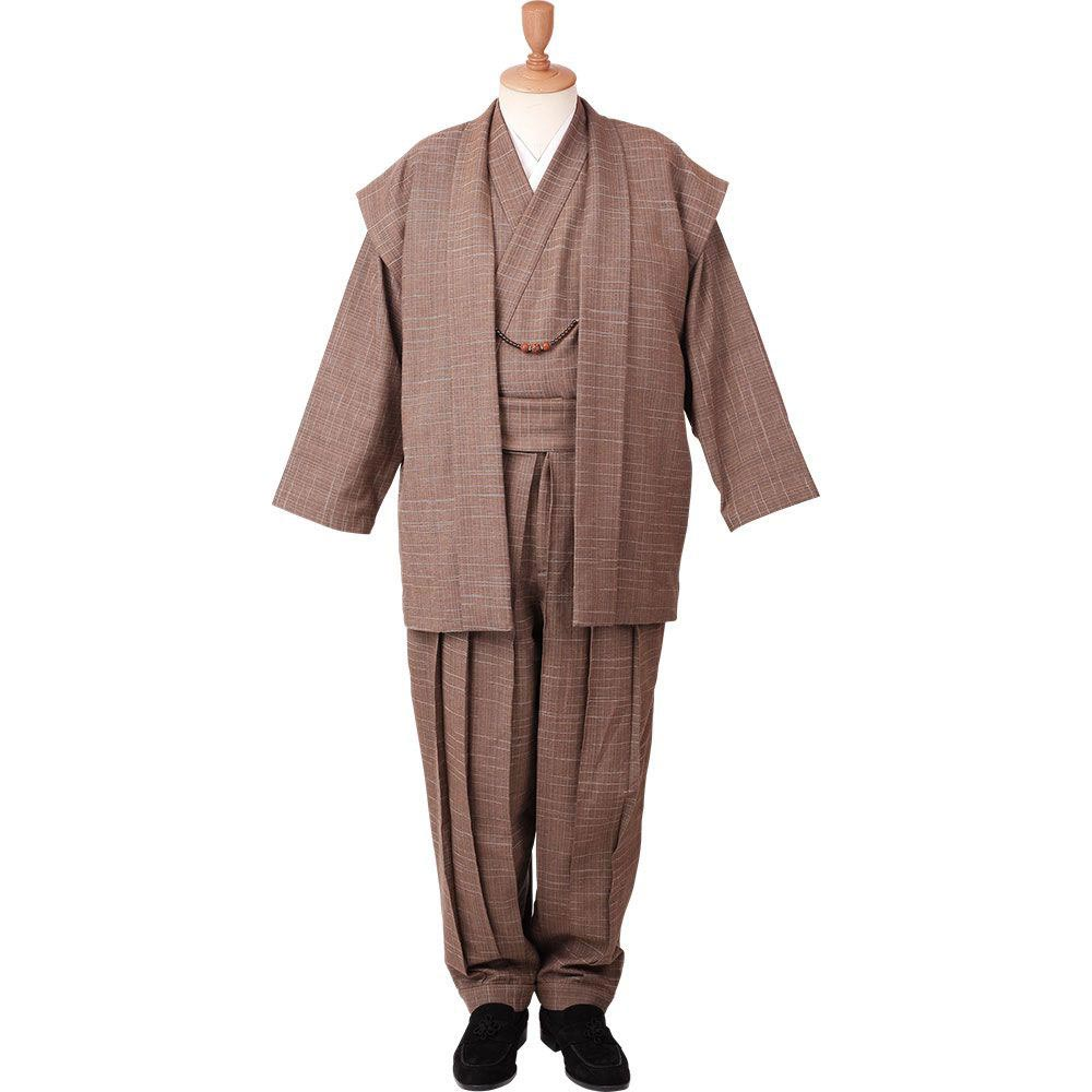 和装アンサンブル/着物スーツ 綿の門 武玄03 茶 羽織紐07(M-LL)/男性 紳士 メンズ