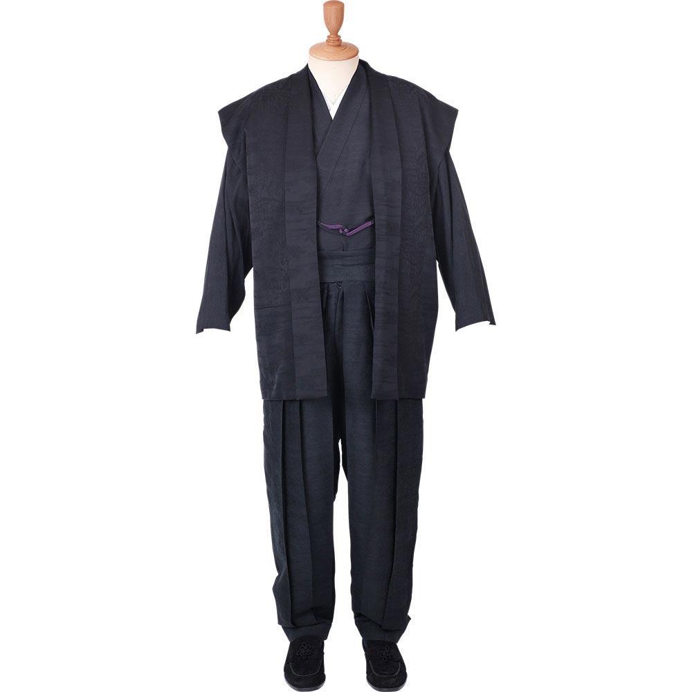 和装アンサンブル/着物スーツ 絹の門 絹雅10 黒 羽織紐02(M-LL)/男性 紳士 メンズ
