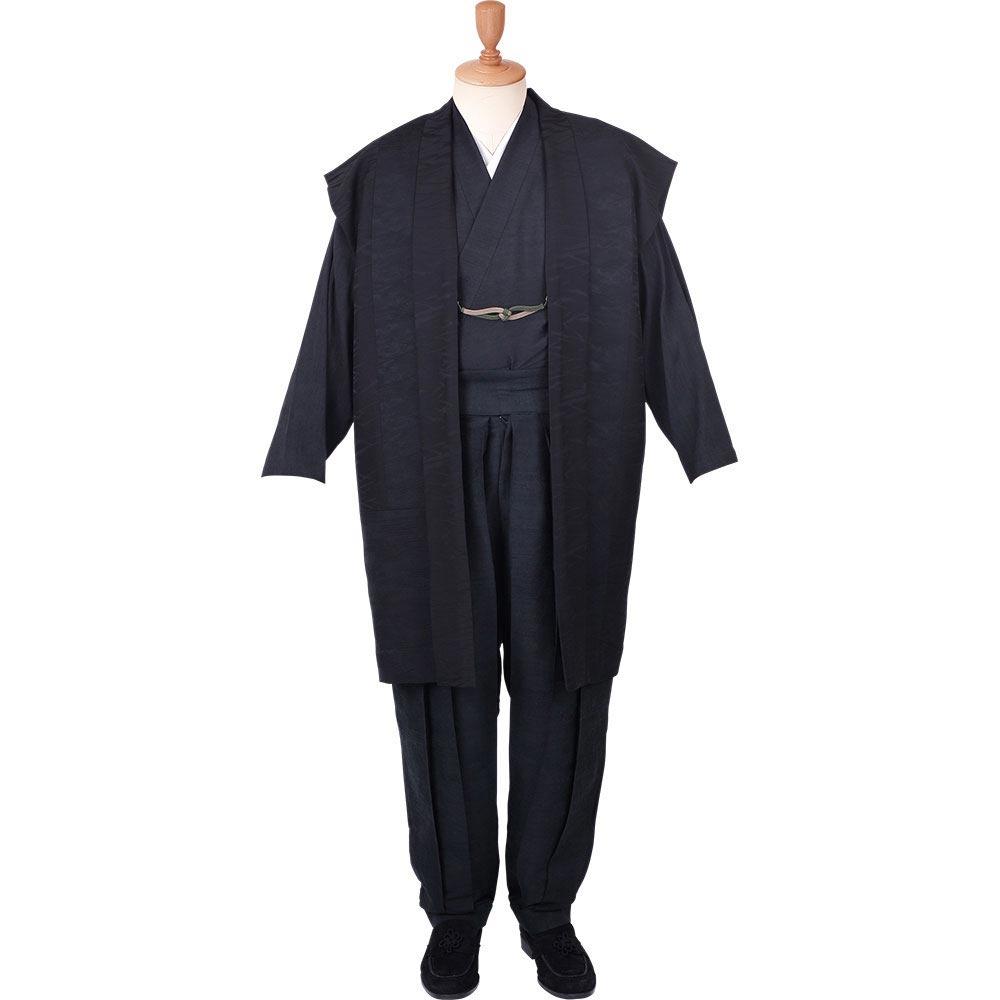 【送料無料】着物スーツ 絹の門 絹雅11 黒(ロング丈) 羽織紐01(M-LL)
