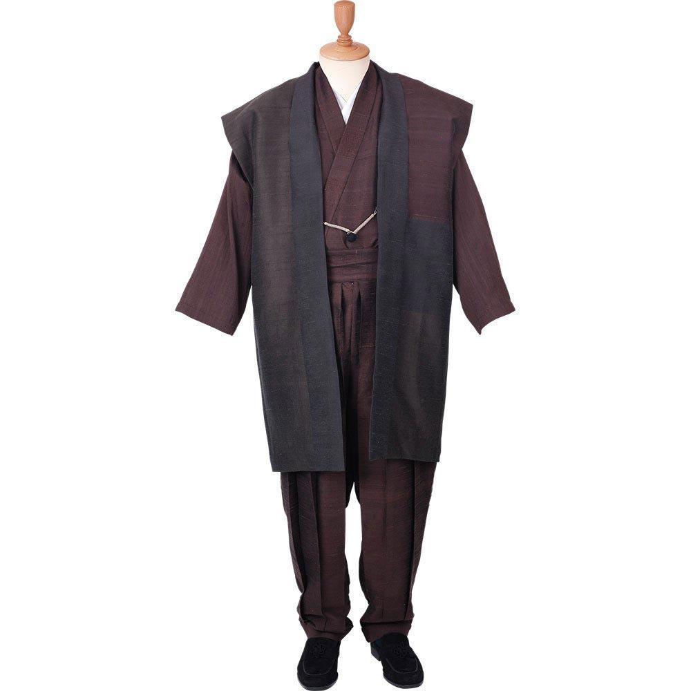 和装アンサンブル/着物スーツ 絹の門 絹雅12 茶(ロング丈) 羽織紐06(M-LL)/男性 紳士 メンズ